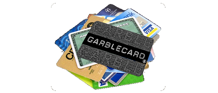 GarbleCard and Stack of Credit Cards